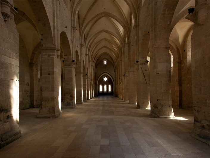 Abbaye de Noirlac, Berry Province, France – Image: 3938 Arched Transept Detail, Ceiling Stone floor Interior.