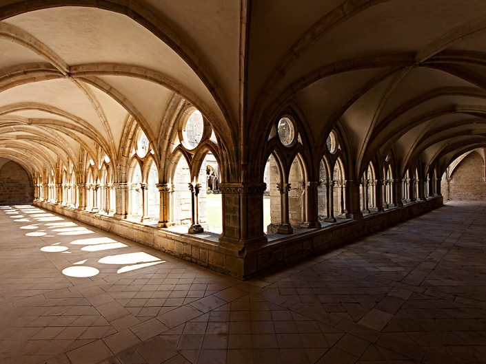 Abbaye de Noirlac, Berry Province, France – Image: 3934 Vaulted Cloister Ceiling Detail, Interior, Stone Tiled Floor.