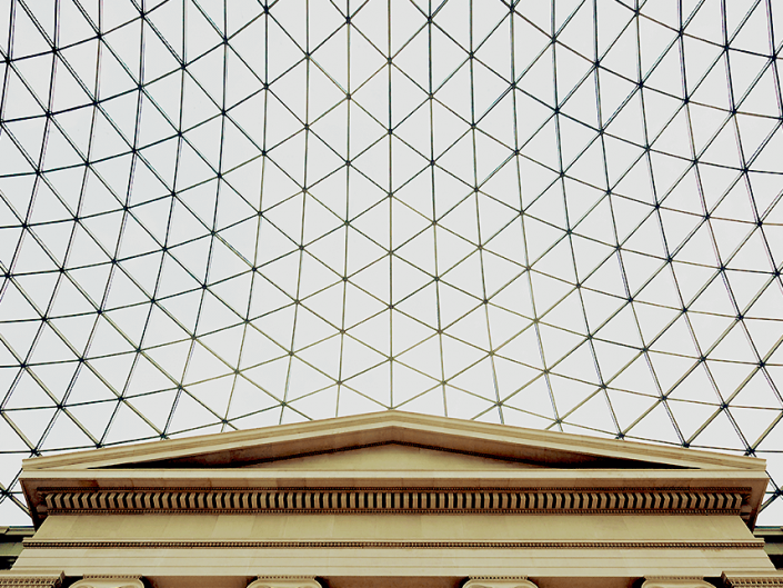 British Museum, London, England - Image: 4459 Central Courtyard with roof detail