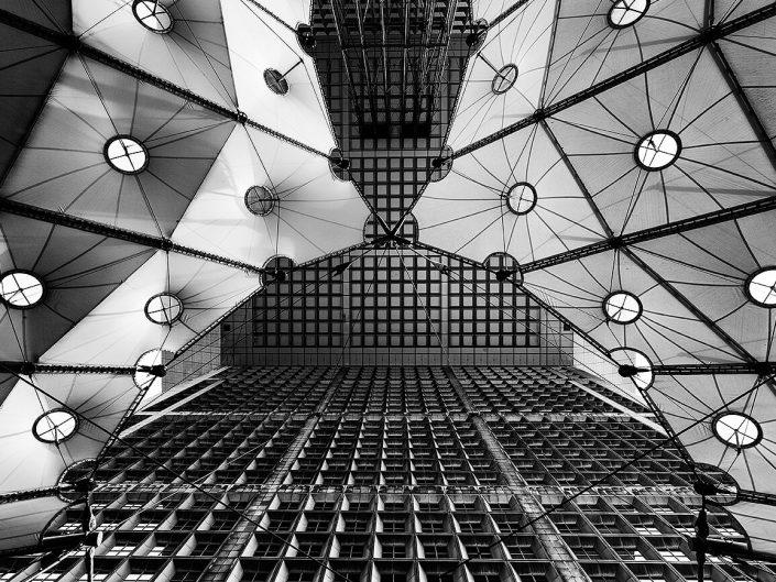 Grand Arch, La Défense, Paris, France, Interior Roof Detail, Black & White, Long Exposure- Image: BW-0968