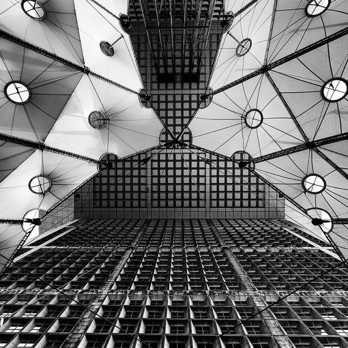 Grand Arch, La Défense, Paris, France, Interior Roof Detail, Black & White, Long Exposure- Image: BW-0968