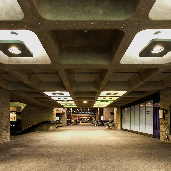 Barbican Centre London, England - Image: 0186 Colour Long Exposure, Concert Hall, Ground Floor, Brutalist Architecture