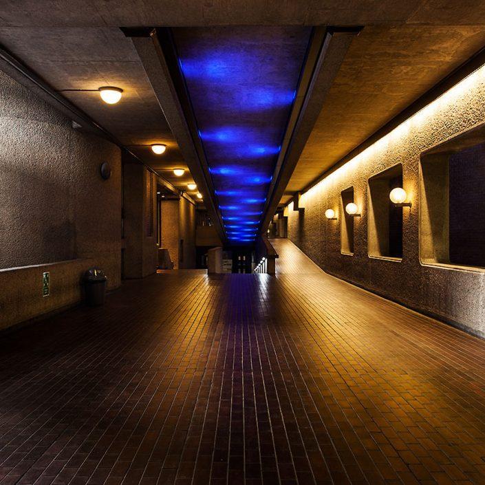 Barbican Centre London, England - Image: 3502 Colour Long Exposure, Concert Hall, Tiled Floor Corridor, Brutalist Architecture