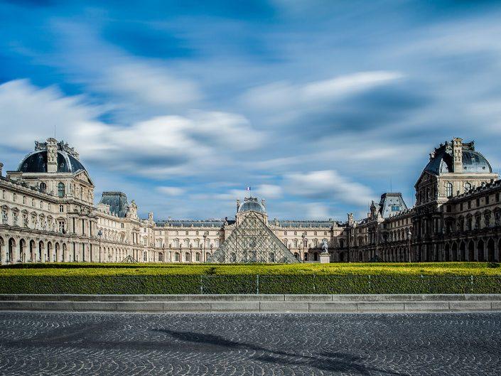 Louvre, Paris, France - Long exposure Image: 1232 Colour Louvre Pyramid. Architect Ieoh Ming Pei,- I. M. Pei