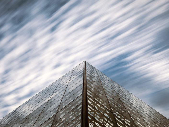 Louvre, Paris - Long exposure Image: 1280 Colour Louvre Pyramid. Architect Ieoh Ming Pei,- I. M. Pei