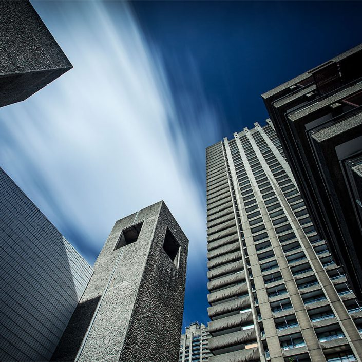 Barbican Centre London, England - Image: 0036 Colour Long Exposure, Frobisher Crescent. Shakespeare Tower, Brutalist Architecture